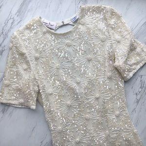 Vintage | Ivory Beaded Sequin Silk Keyhole Dress
